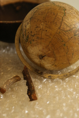 newton pocket globe, newton globe restoration, lander and may globes