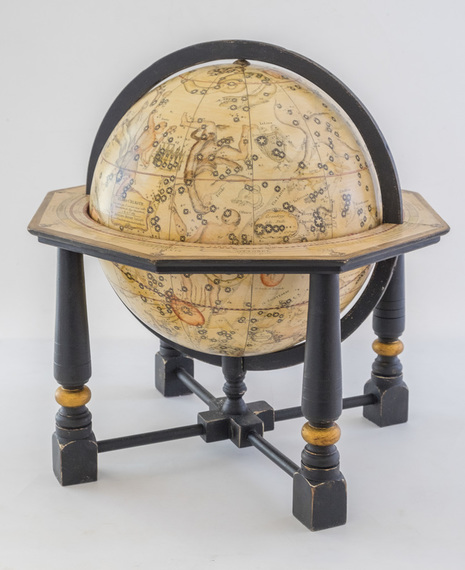 Cassini celestial globe with black base and gold leaf